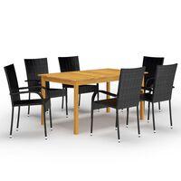vidaXL spisebordssæt til haven 7 dele sort