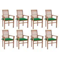 vidaXL spisebordsstole 8 stk. med grønne hynder massivt teaktræ