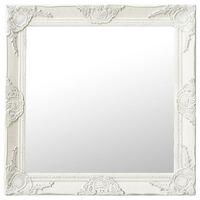 vidaXL vægspejl barokstil 60x60 cm hvid