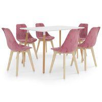 vidaXL spisebordssæt 7 dele lyserød