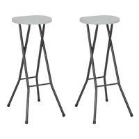 vidaXL foldbare barstole 2 stk. HDPE og stål hvid