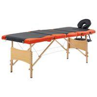 vidaXL foldbart massagebord 4 zoner træ sort og orange