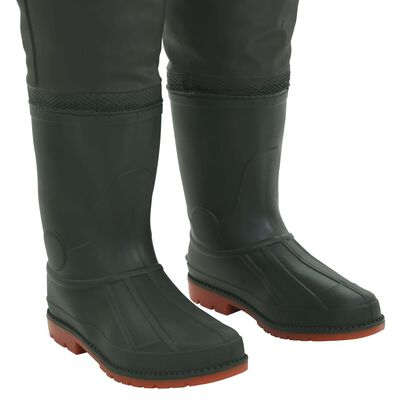 vidaXL waders med støvler grøn str. 43