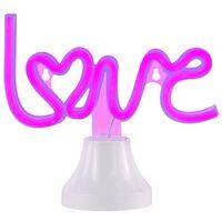 Wofi neon-bordlampe Love lilla