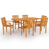 vidaXL spisebordssæt til haven 7 dele massivt teaktræ