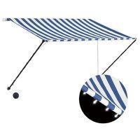 vidaXL foldemarkise med LED 250x150 cm blå og hvid