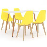 vidaXL spisebordssæt 7 dele gul
