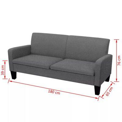 vidaXL 3-personers sofa 180 x 65 x 76 cm mørkegrå