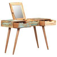 vidaXL kosmetikbord med spejl 112x45x76 cm massivt genbrugstræ