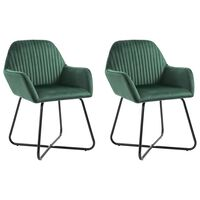 vidaXL spisebordsstole 2 stk. fløjl grøn