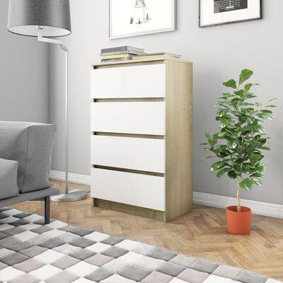 vidaXL skænk 60x35x98,5 cm spånplade hvid og sonoma-eg