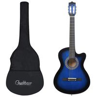 """vidaXL akustisk western-guitarsæt 12 dele med 6 strenge 38"""" blå"""