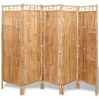 vidaXL rumdeler 5 paneler bambus 200 x 160 cm
