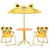vidaXL udendørs bistrosæt til børn 3 dele med parasol gul