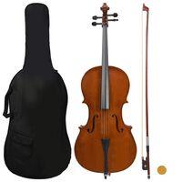 vidaXL cellosæt i fuld størrelse med taske og bue mørkt træ 4/4