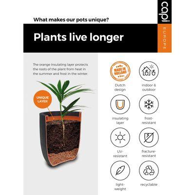 Capi plantekasse Nature Rib firkantet 30x30 cm sort KBLR902