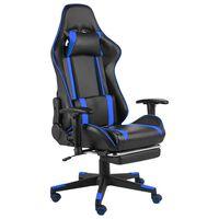 vidaXL drejelig gamingstol med fodstøtte PVC blå