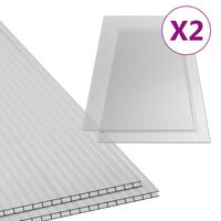 vidaXL polykarbonatplader 2 stk. 10 mm 150x65 cm