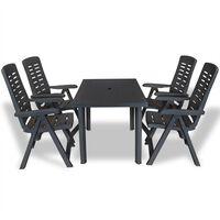vidaXL udendørs spisebordssæt 5 dele plastik antracitgrå