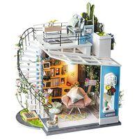 Robotime DIY-miniaturesæt Dora's Loft med LED-lys