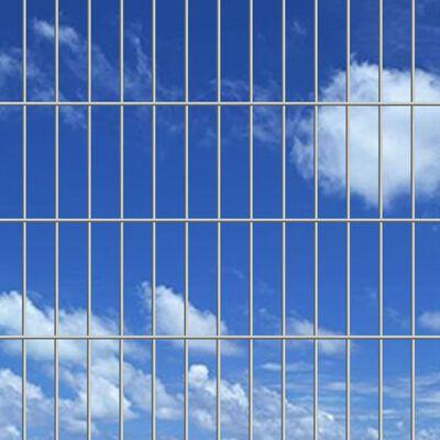 vidaXL 2D paneler og pæle til havehegn, 2008x830 mm, 16 m, sølv