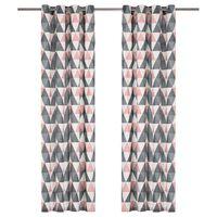 vidaXL gardiner med metalringe 2 stk. 140 x 245 cm bomuld grå og pink