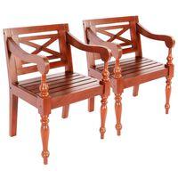 vidaXL Batavia-stole 2 stk. massivt mahognitræ mørkebrun