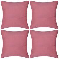 4 pink pudebetræk i bomuld 40 x 40 cm