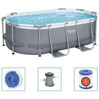 Bestway Power Steel fritstående pool 305x200x84 cm oval