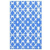 vidaXL udendørstæppe 160x230 cm PP blå og hvid