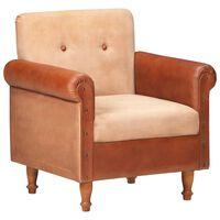 vidaXL lænestol ægte skind og lærred brun