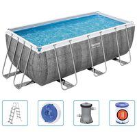 Bestway Power Steel swimmingpoolsæt rektangulær 412x201x122 cm