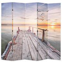 vidaXL foldbar rumdeler 200 x 170 cm sømotiv