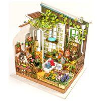Robotime DIY-miniaturesæt Miller's Garden med LED-lys