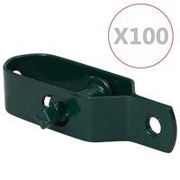 vidaXL hegnstrådstrammere 100 stk. 100 mm stål grøn