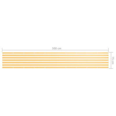 vidaXL altanafskærmning 75x500 cm oxfordstof hvid og gul