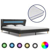 vidaXL seng med LED madras memoryskum 180x200 cm sækkelærred mørkegrå