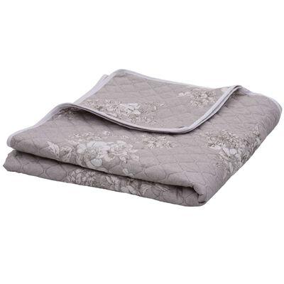 vidaXL vattæppe 230x260 cm vatteret stof gråbrun
