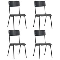 vidaXL spisebordsstole 4 stk. sort massivt krydsfinér stål