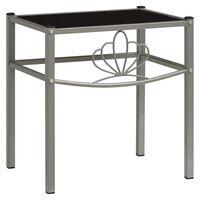 vidaXL sengeskab 42,5x33x44,5 cm metal og glas grå og sort