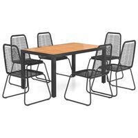 vidaXL spisebordssæt til haven 7 dele PVC-rattan sort og brun