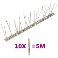 vidaXL fuglepigge 5 rækker sæt af 10 stk. 5 m rustfrit stål