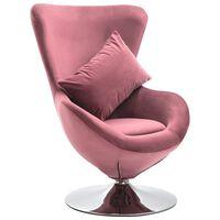 vidaXL drejelig lænestol med hynde fløjl pink