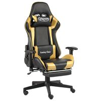 vidaXL drejelig gamingstol med fodstøtte PVC guldfarvet