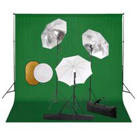 vidaXL fotostudieudstyr med lamper, paraplyer, baggrund og reflektor