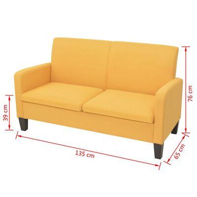 vidaXL 2-personers sofa 135 x 65 x 76 cm gul