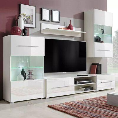 vidaXL TV-møbel i fem dele med LED-belysning hvid