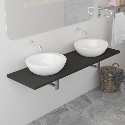 vidaXL badeværelsesmøbel 160 x 40 x 16,3 cm grå