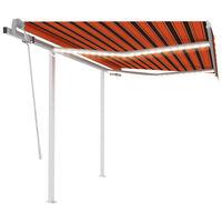 vidaXL foldemarkise m. LED-lys 3,5x2,5 m manuel betjening orange/brun