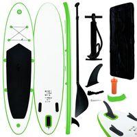 vidaXL oppusteligt paddleboard grøn og hvid